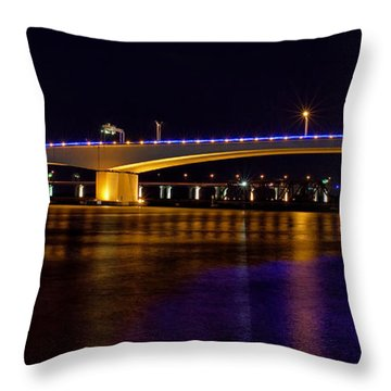 Jacksonville Bridges Throw Pillow by Farol Tomson
