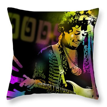Jimi Hendrix Throw Pillow by Paul Sachtleben