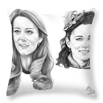 Kate Middleton Throw Pillow by Murphy Elliott