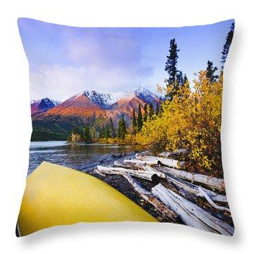 Kathleen Lake And Mountains, Kluane Throw Pillow by Yves Marcoux