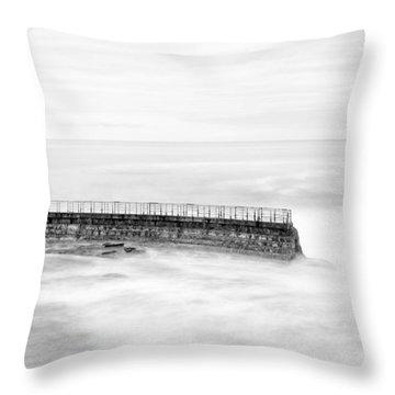 La Jolla Seawall Throw Pillow by Tanya Harrison