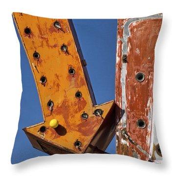Lasso Motel Sign On Rt. 66 Throw Pillow