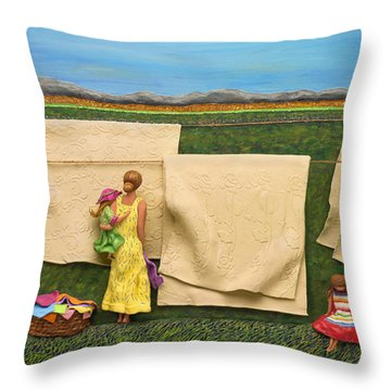 Laundry Throw Pillow by Anne Klar
