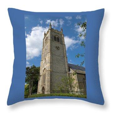 Laxfield Church Tower Throw Pillow by Ann Horn