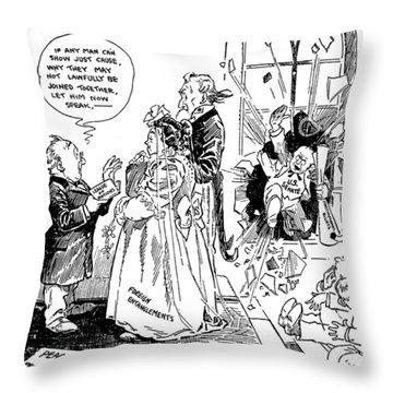 League Of Nations Cartoon Throw Pillow by Granger