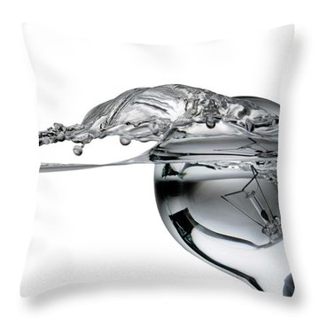 Light Bulb And Splash Water Throw Pillow