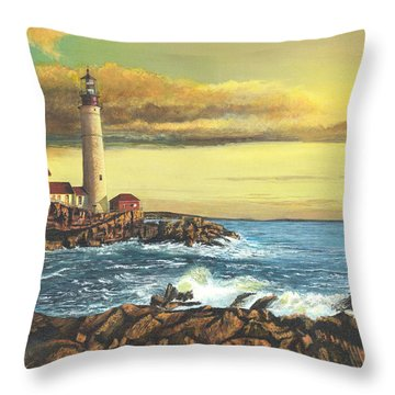 light house Nova Scotia Throw Pillow by Stuart B Yaeger