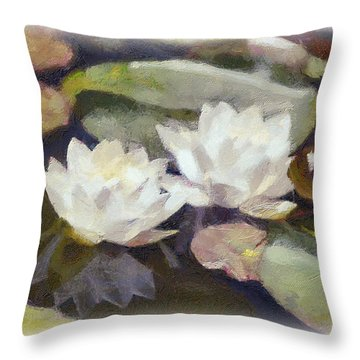 Lily Pond Throw Pillow by Dawn Serkin