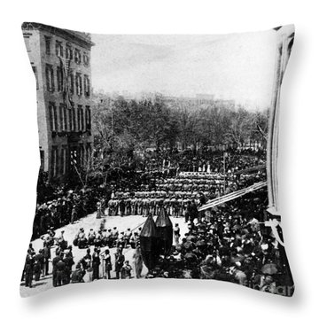 Lincolns Funeral Procession, 1865 Throw Pillow by Photo Researchers