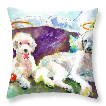 Little Angels Poodles Throw Pillow by Marsden Burnell