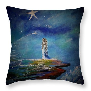 Little Wishes By The Sea Throw Pillow by Leslie Allen