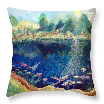 Lotus Lake Throw Pillow by Ashleigh Dyan Bayer