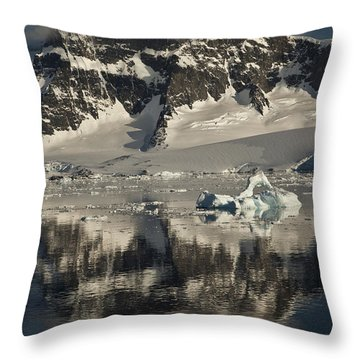 Luigi Peak Wiencke Island Antarctic Throw Pillow by Colin Monteath