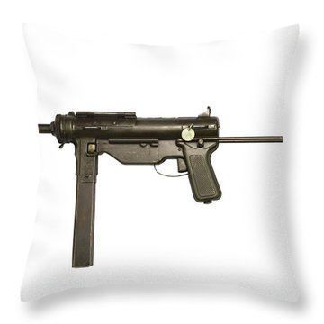 M3a1 Submachine Gun, 45 Caliber Throw Pillow by Andrew Chittock
