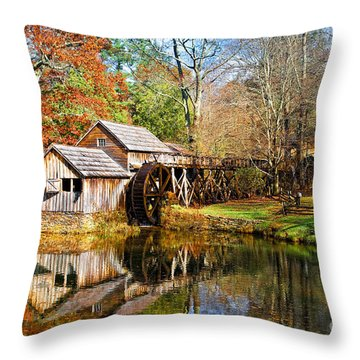 Mabry Mill Throw Pillow by Ronald Lutz