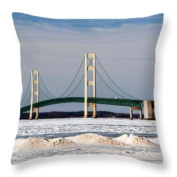 Mackinac Bridge In Winter Throw Pillow