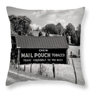 Throw Pillow featuring the photograph Mail Pouch Barn by Mary Almond