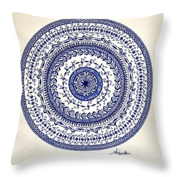 Throw Pillow featuring the drawing Mandala by Sylvie Leandre