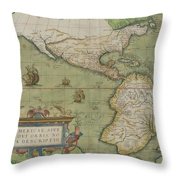 Map Of North And South America Throw Pillow by Abraham Ortelius