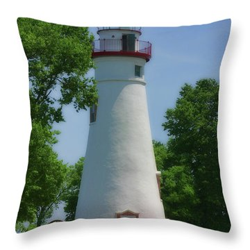 Throw Pillow featuring the photograph Marble Head Lighthouse by Joan Bertucci