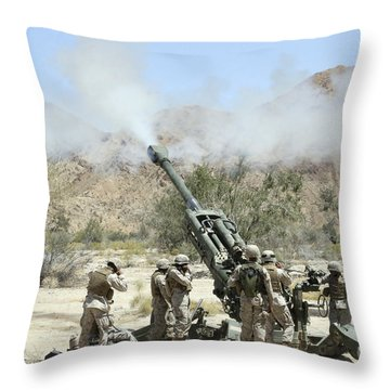Marines Shoot 100-pound Rounds Throw Pillow by Stocktrek Images