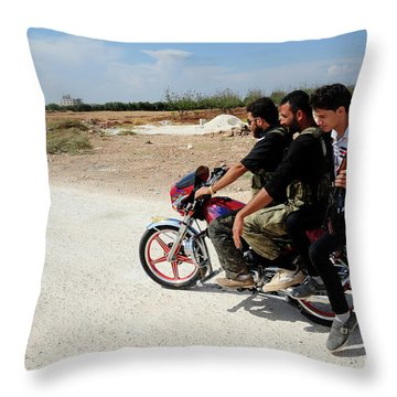 Men From The Free Syrian Army Throw Pillow by Andrew Chittock