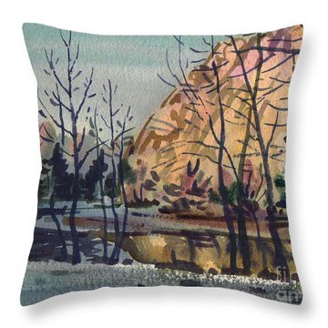 Throw Pillow featuring the painting Merced River In Winter by Donald Maier