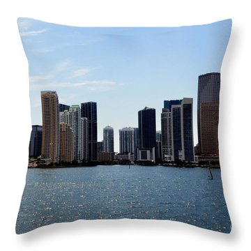 Throw Pillow featuring the photograph Miami Skyline by Pravine Chester