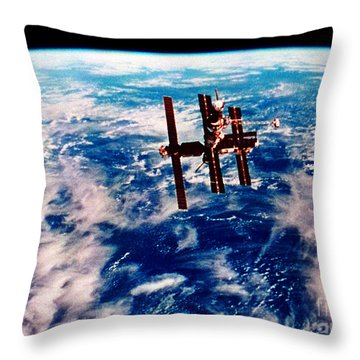 Mir Space Station Throw Pillow by Nasa