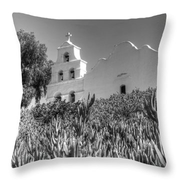 Mission San Diego De Alcala Monochrome Throw Pillow