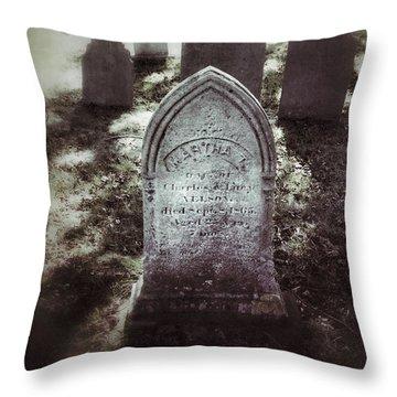 Misty Graveyard Throw Pillow by Jill Battaglia