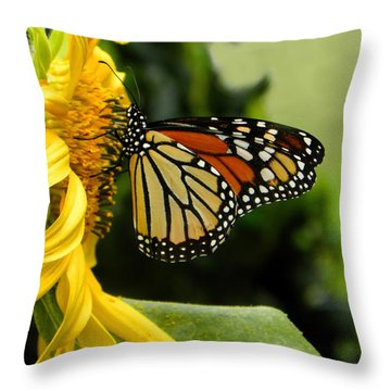 Monarch And The Sunflower Throw Pillow