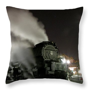 Moon And Steam Throw Pillow by Tim Mulina