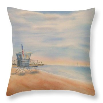 Morning By The Beach Throw Pillow
