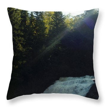 Morning Waterfall Throw Pillow by Stacy C Bottoms