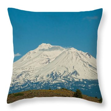 Mount Shasta Throw Pillow by Carol Ailles