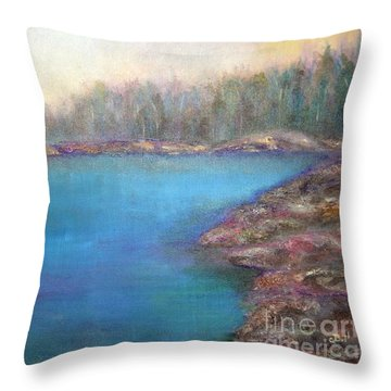 Muskoka Shore Throw Pillow by Claire Bull