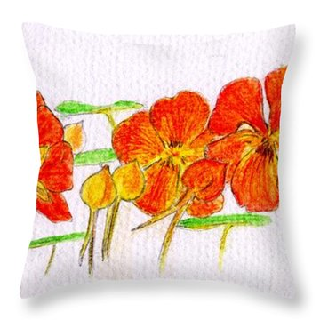 Throw Pillow featuring the drawing Nasturtiums by Barbara Moignard