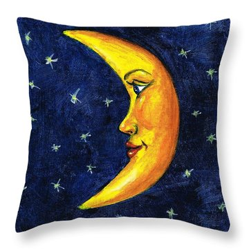 Throw Pillow featuring the painting New Moon by Sarah Farren