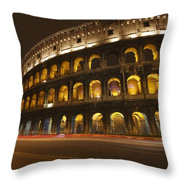 Night Lights Of The Colosseum Rome Throw Pillow by Trish Punch