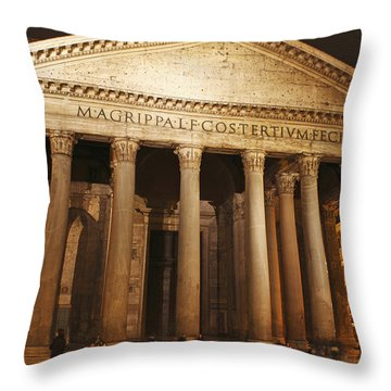 Night Lights Of The Pantheon In Piazza Throw Pillow by Trish Punch