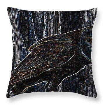 Night Owl - Digital Art Throw Pillow by Carol Groenen