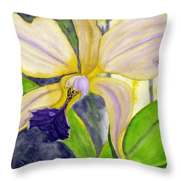No Ordinary Orchid Throw Pillow by Debi Singer