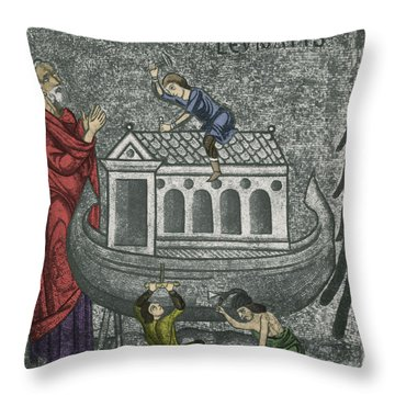 Noah Building The Ark Throw Pillow by Photo Researchers