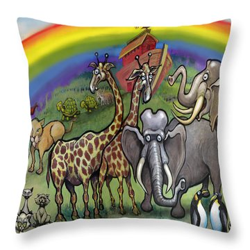 Noah's Ark Throw Pillow by Kevin Middleton