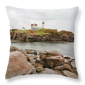 Nubble Lighthouse Throw Pillow by Jack Schultz