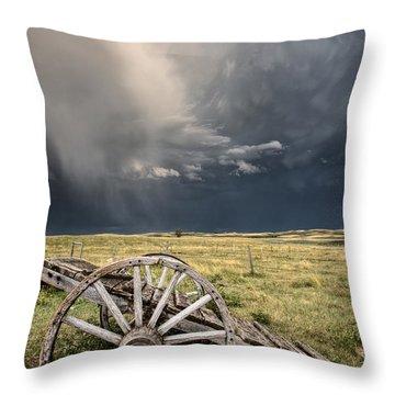 Old Prairie Wheel Cart Saskatchewan Throw Pillow by Mark Duffy