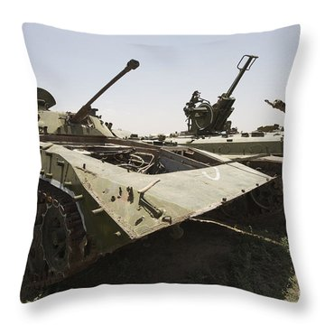Old Russian Bmp-1 Infantry Fighting Throw Pillow by Terry Moore
