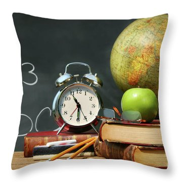 Old School Books  Throw Pillow by Sandra Cunningham