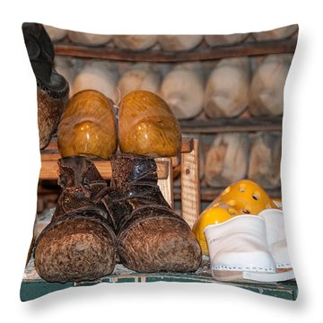 Throw Pillow featuring the digital art Old Wooden Shoes by Carol Ailles